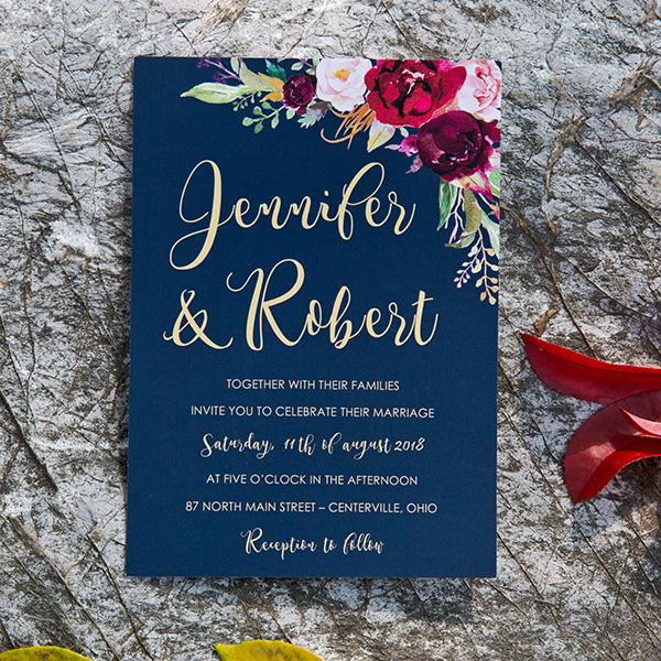 boho style navy blue and burgundy floral wedding invites