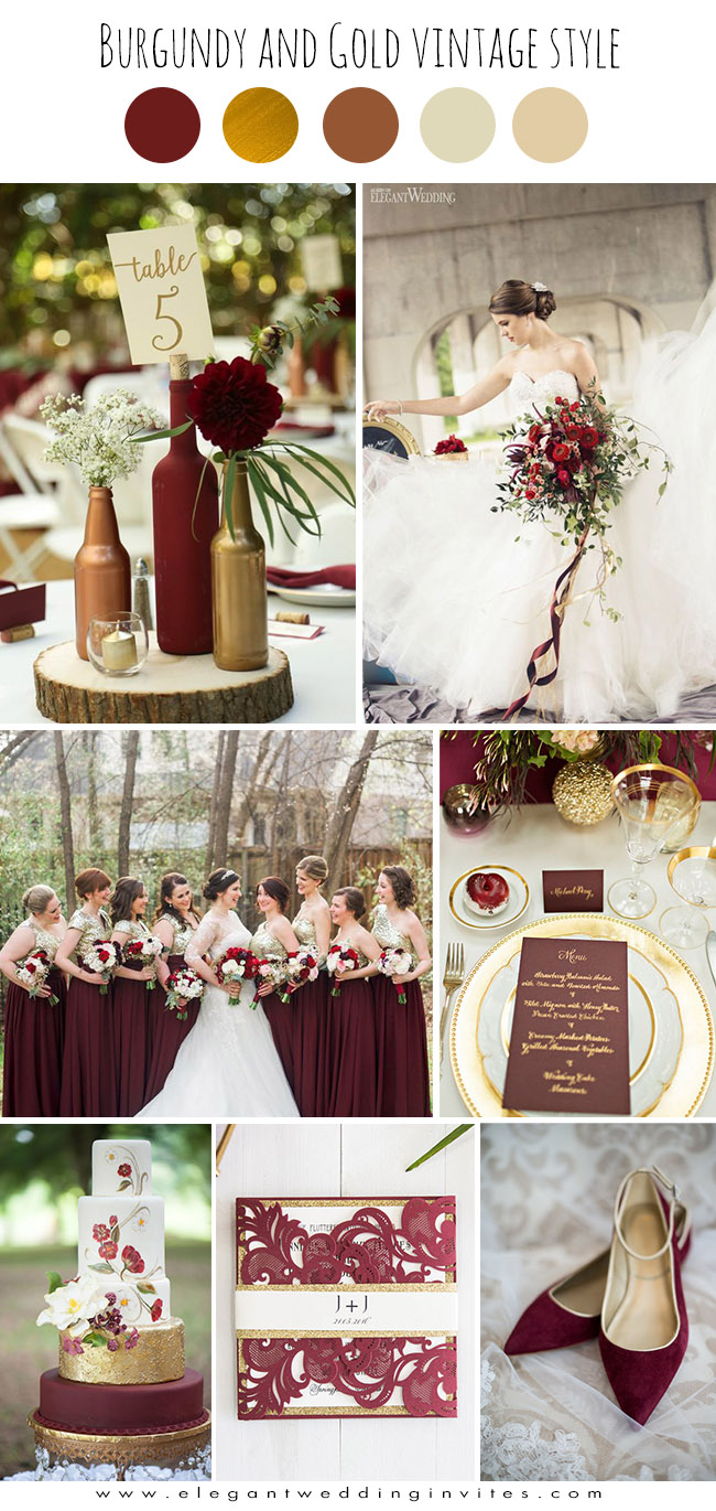 burgundy and gold glamorous vintage wedding color ideas