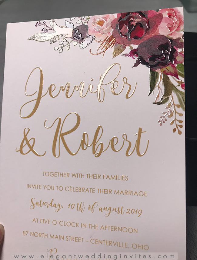 burgundy and gold uv printing raised texture floral wedding invitations