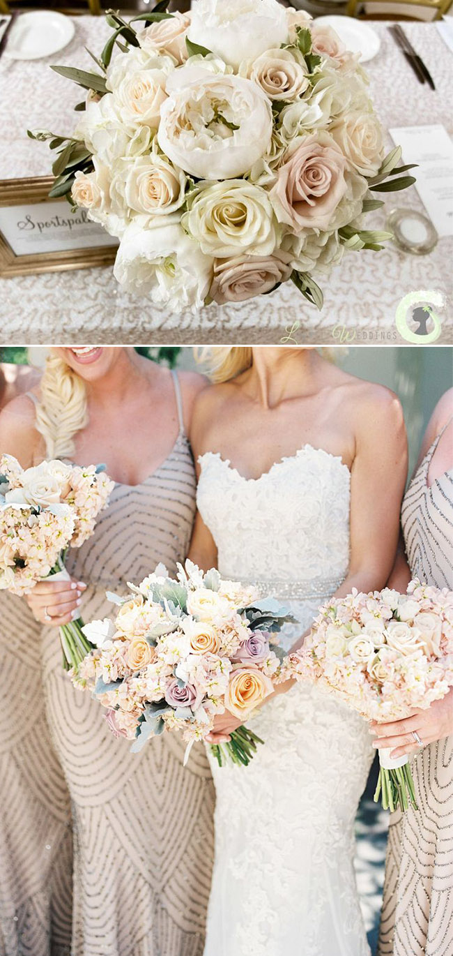 champagne and blush wedding bouquets ideas