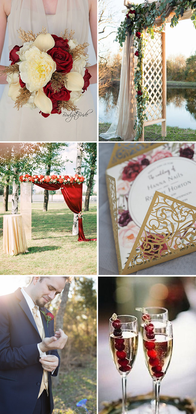 champagne and red whimsical fall and autumn wedding color inspiration