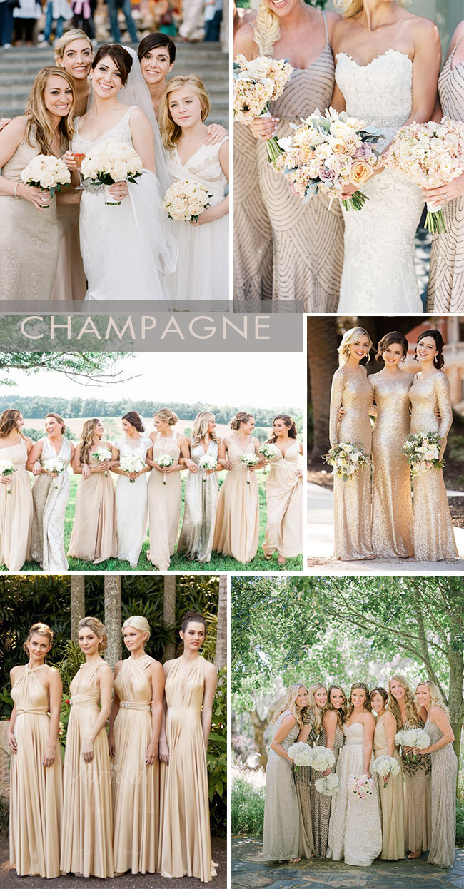 champagne gold bridesmaid dresses ideas
