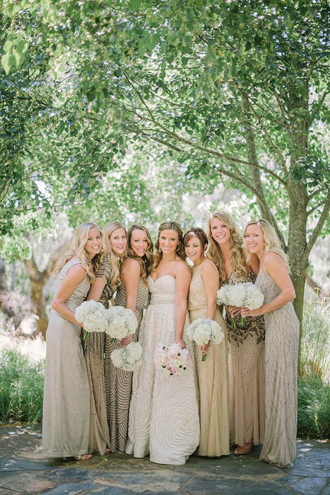 classic gold glitter mismatched bridesmaid dresses