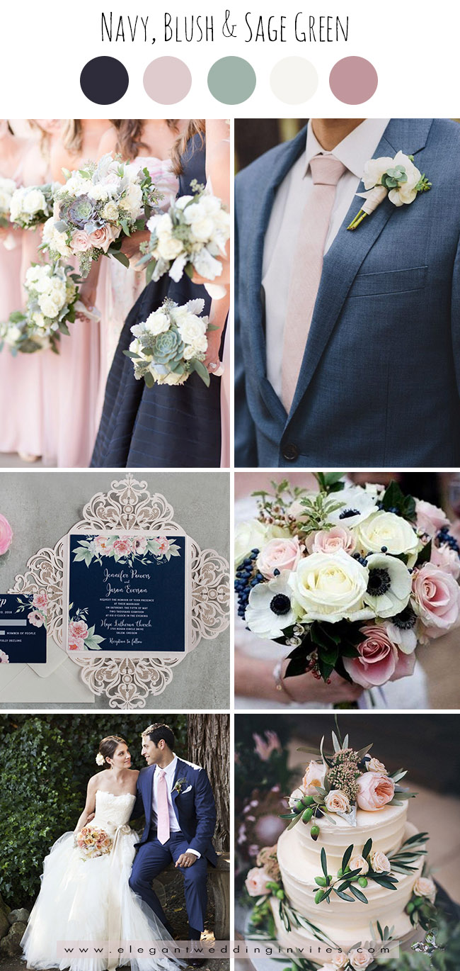 classic navy,blush pink and sage green wedding color palettes