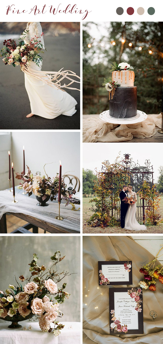 dark moody burgundy, blush and dark grey ethereal fall wedding inspiration with matching invites