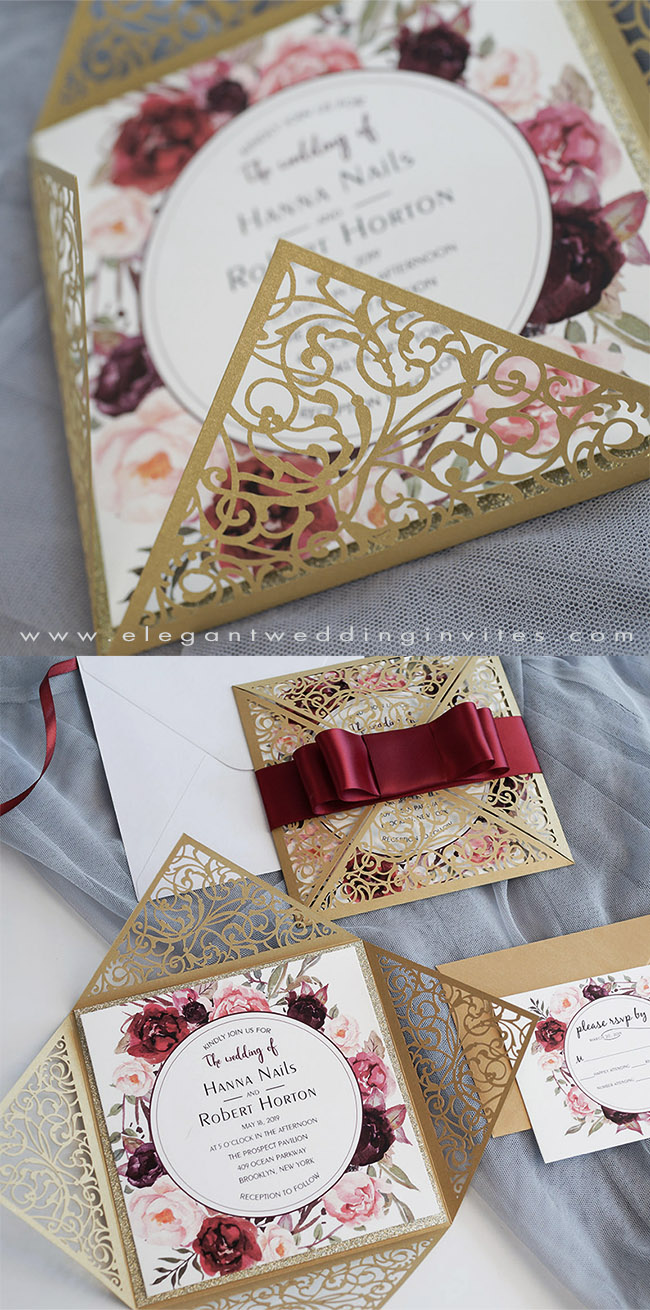 darker champagne and burgundy laser cut floral wedding invitations