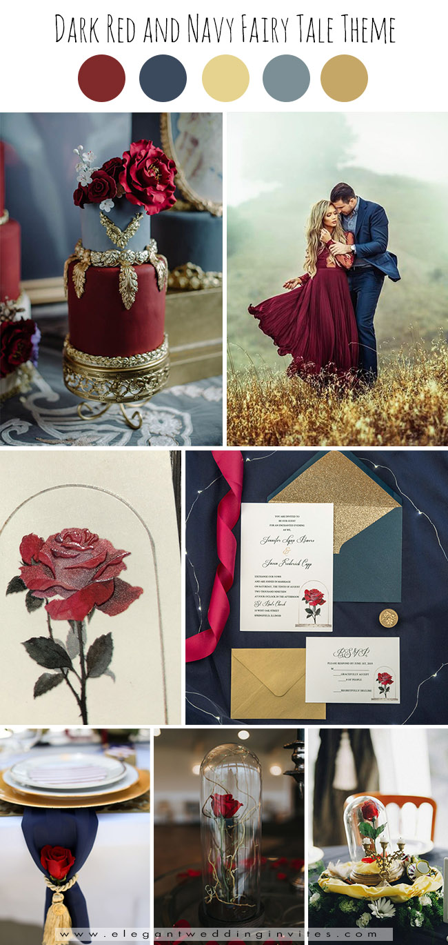 dreamy dark red and navy beauty and the beast fairytale fall wedding ideas
