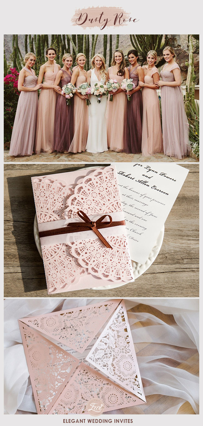 dusty rose pink and burgundy fall wedding color ideas with matching invites