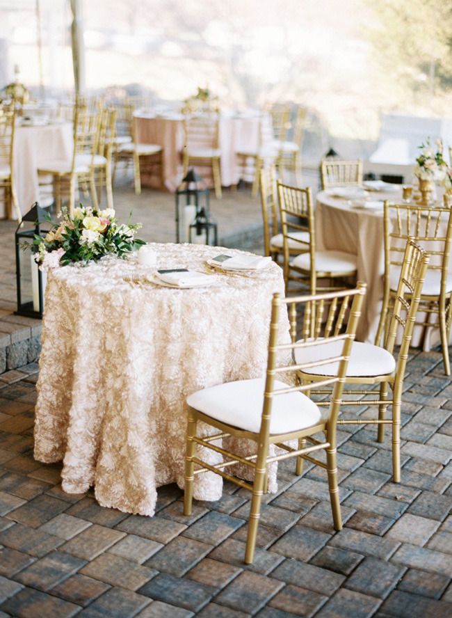 elegant champagne color themed wedding reception ideas