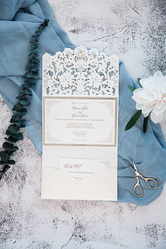 elegant ivory white and champane gold wedding invites