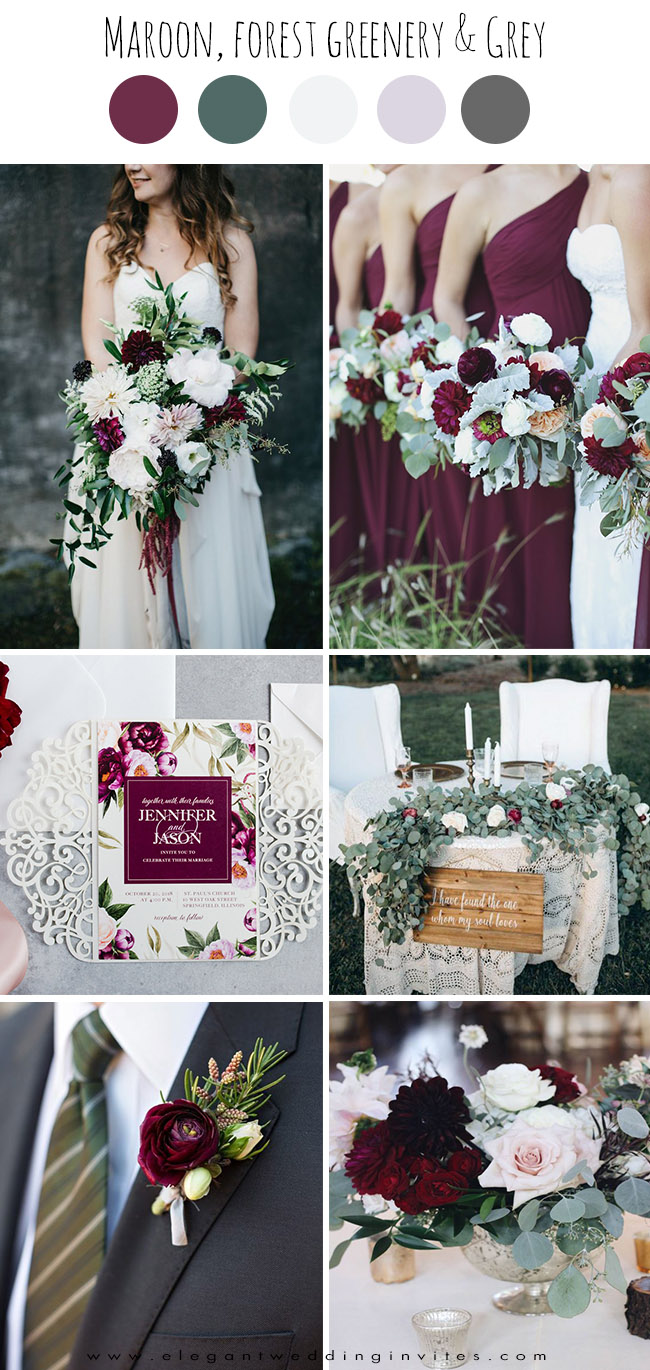 elegant maroon,white and greenery fall wedding color inspiration