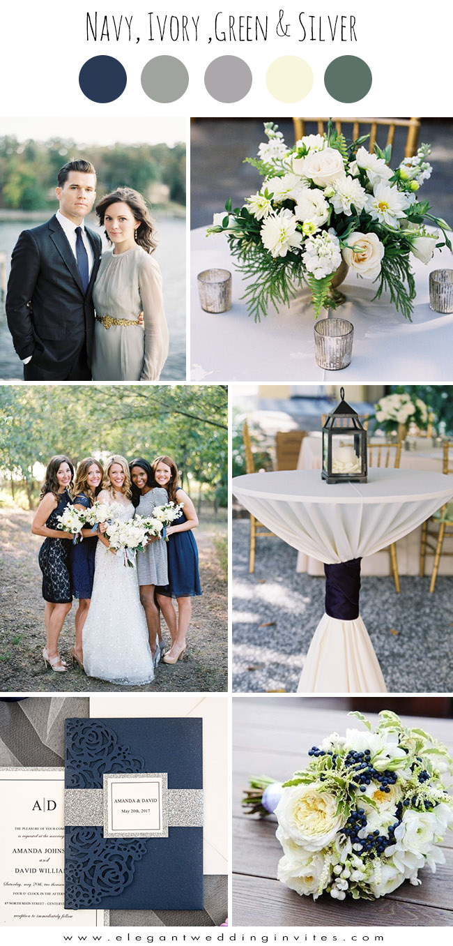elegant navy, ivory white and silver grey wedding colors