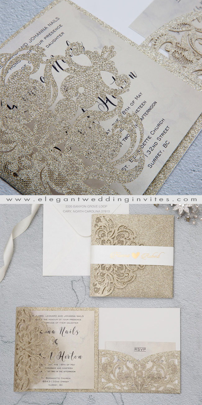 glamorous champagne gold laser cut wedding invites