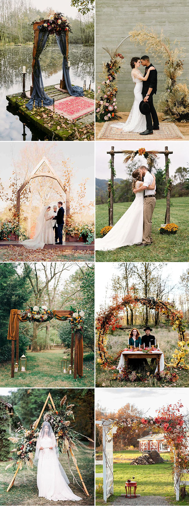 gorgeous fall seasonal wedding ceremony altar and arch decoration ideas