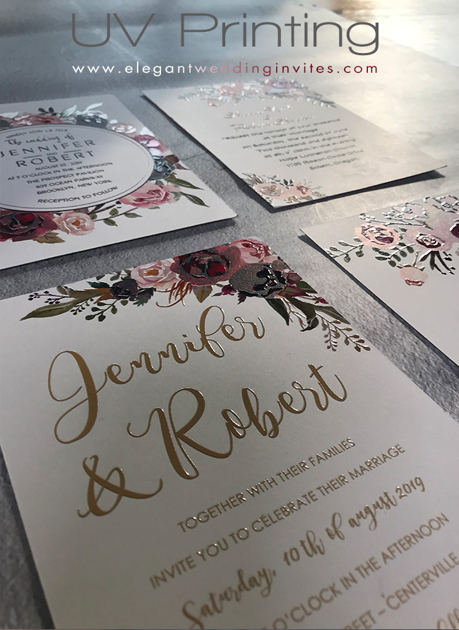 gorgeous floral UV printing Wedding Invitations