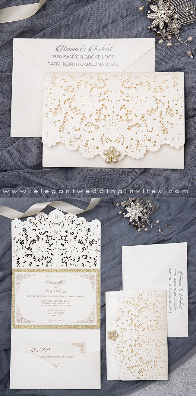 graceful pearl white laser cut wedding invitation with champagne gold accents