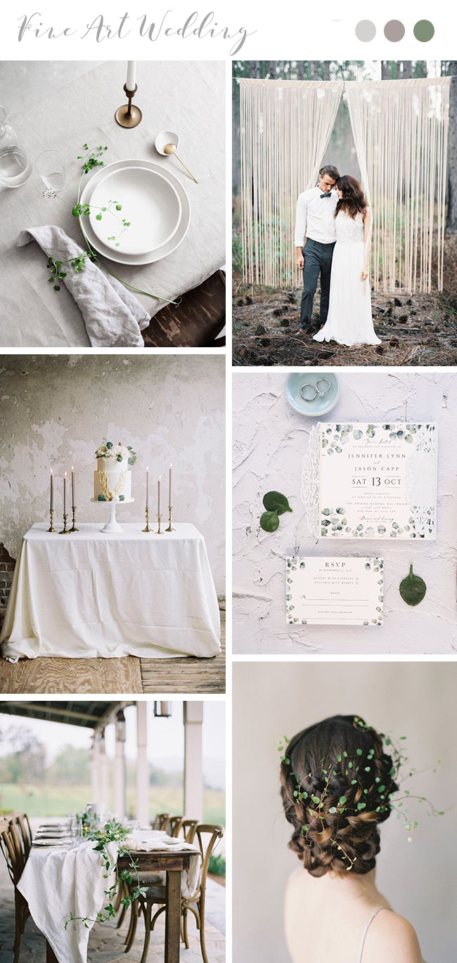 minimal style light grey modern fine art wedding theme ideas