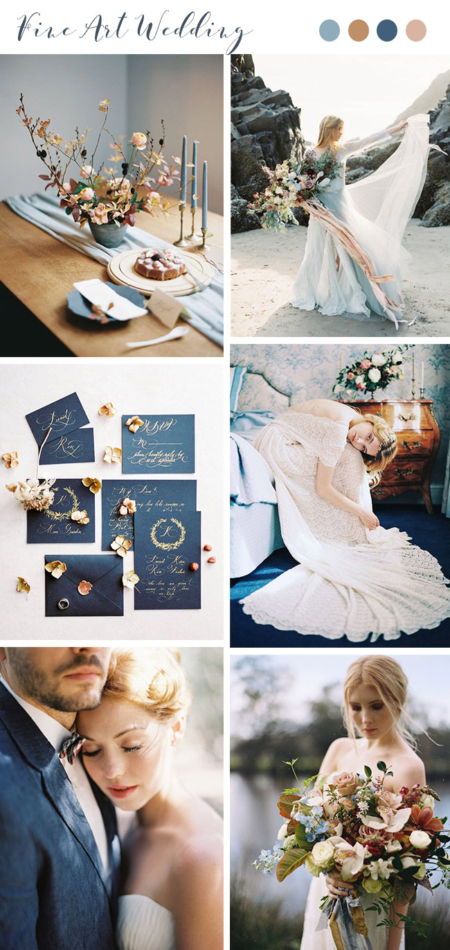navy and copper gold fine art fall wedding colors