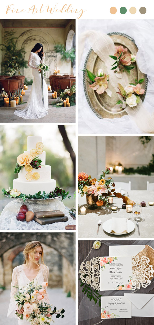 peach and orange stylish fine art wedding color palettes