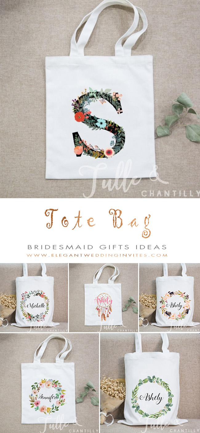 personalized bridesmaid gift tote bags of different designs from Tulle and Chantilly