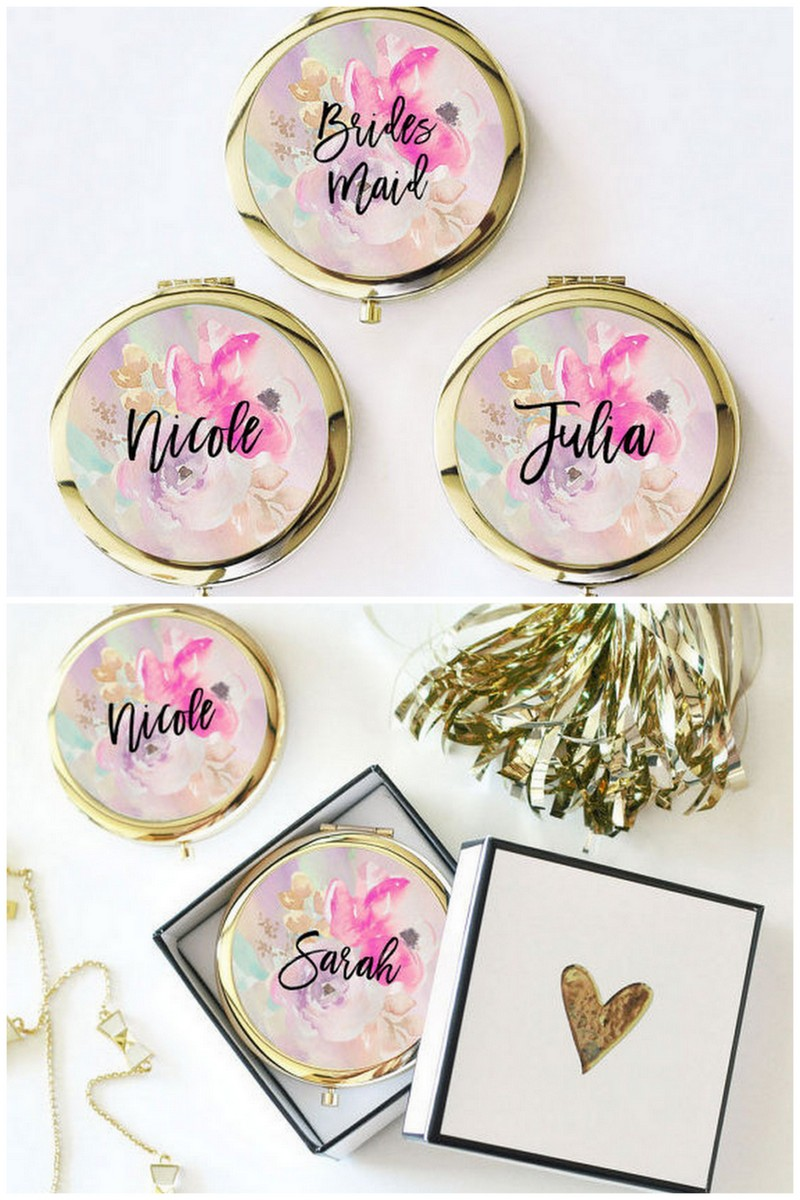personalized compact mirrors bridesmaid gifts