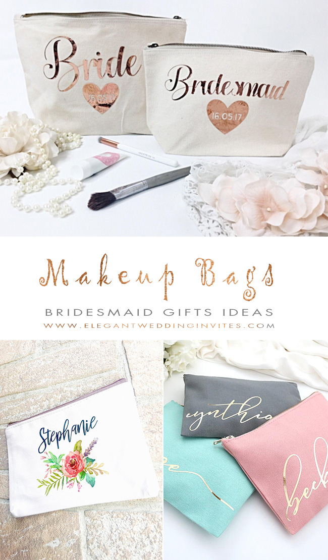 personalized makeup bags for bridesmaid gifts