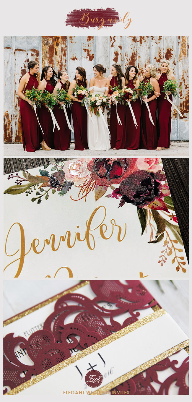 popular burgundy bridesmaid dresses ideas with burgundy and gold wedding invites