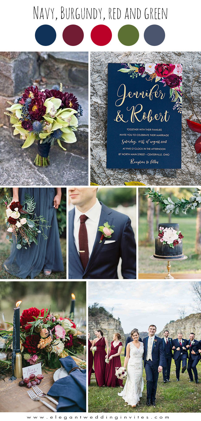 popular navy blue ,burgundy and dark blue fall wedding colors