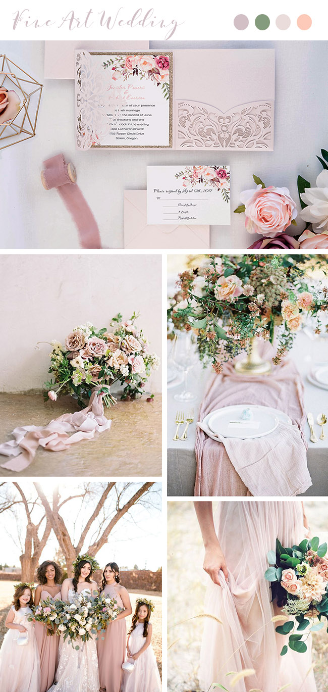 romantic dusty rose oragnic ethereal wedding colors
