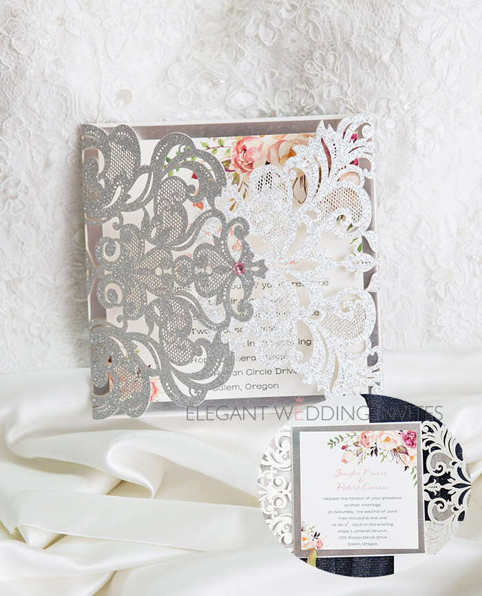 silver and floral glitter laser cut wedding invites