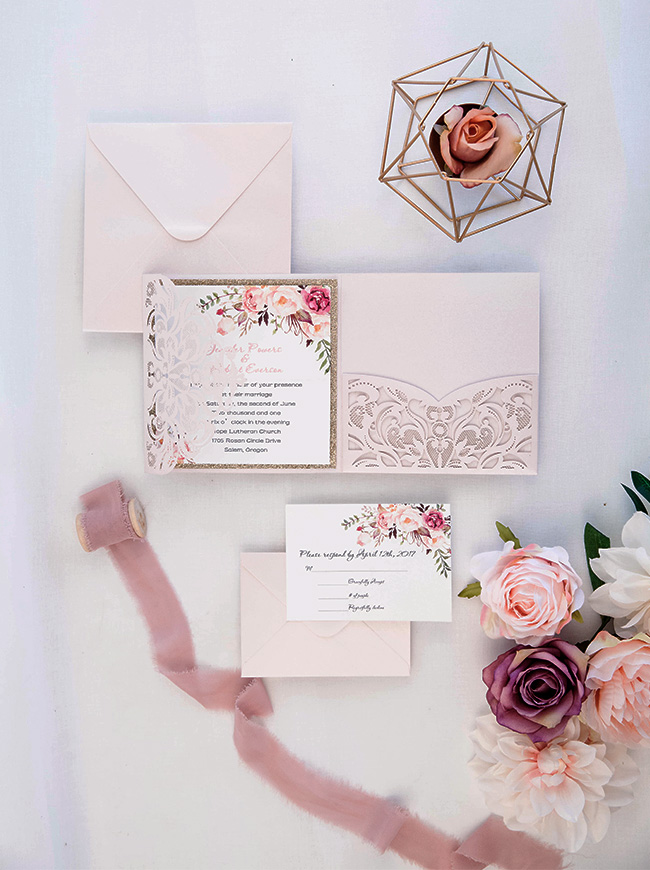 stunning blush florall and glitter gold laser cut wedding invitations