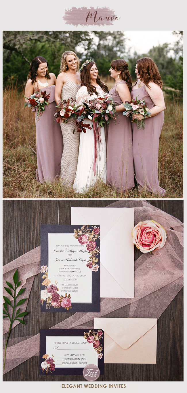 stunning mauve fall and winter wedding bridesmaid dresses and invitations