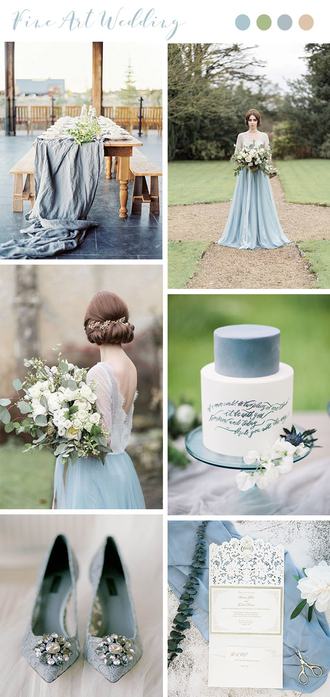 trendy light blue and white greenery garden wedding colors