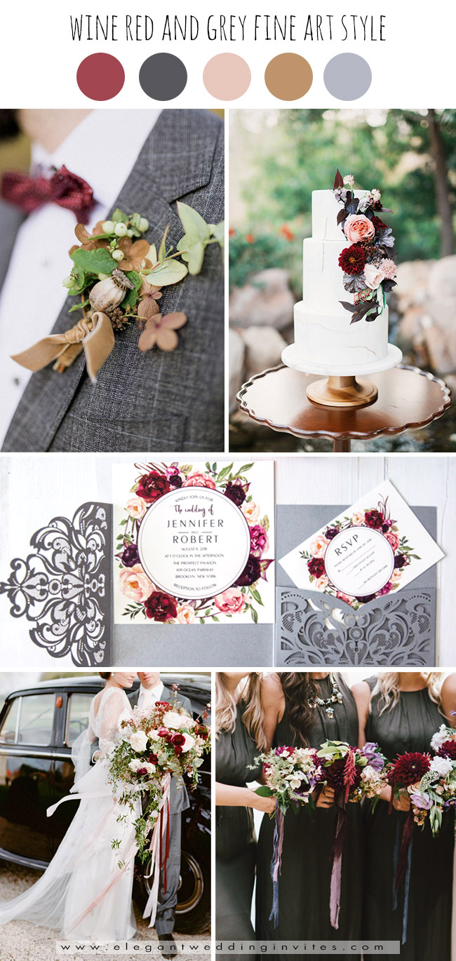 wine red and silver grey fine art fall wedding color palettes