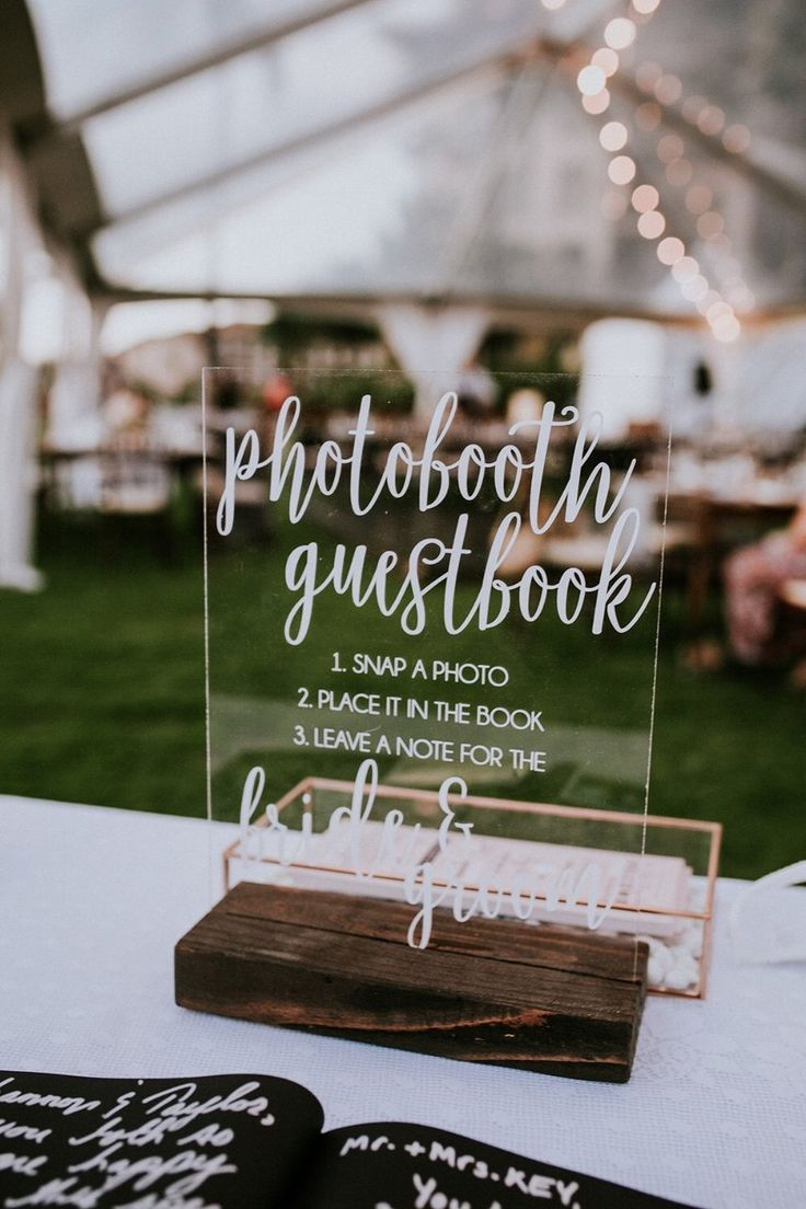 Acrylic photo booth guestbook wedding sign ideas