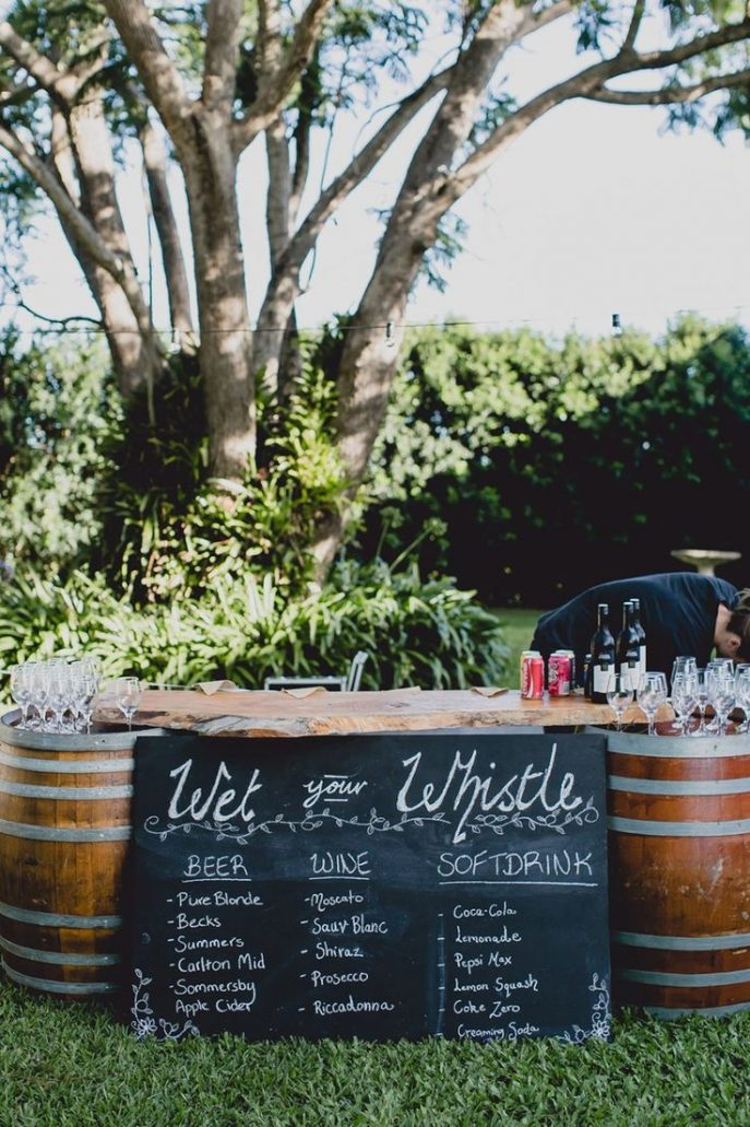 Barrel Food Bar Elegant Country Wedding Ideas