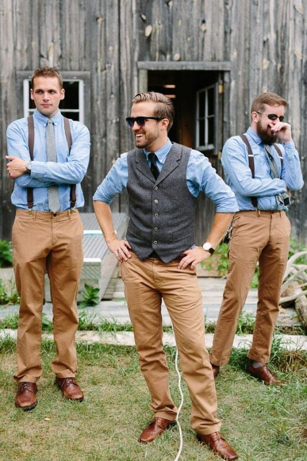 Blue Country Groomsmen Attire Via Rustic Wedding Chic