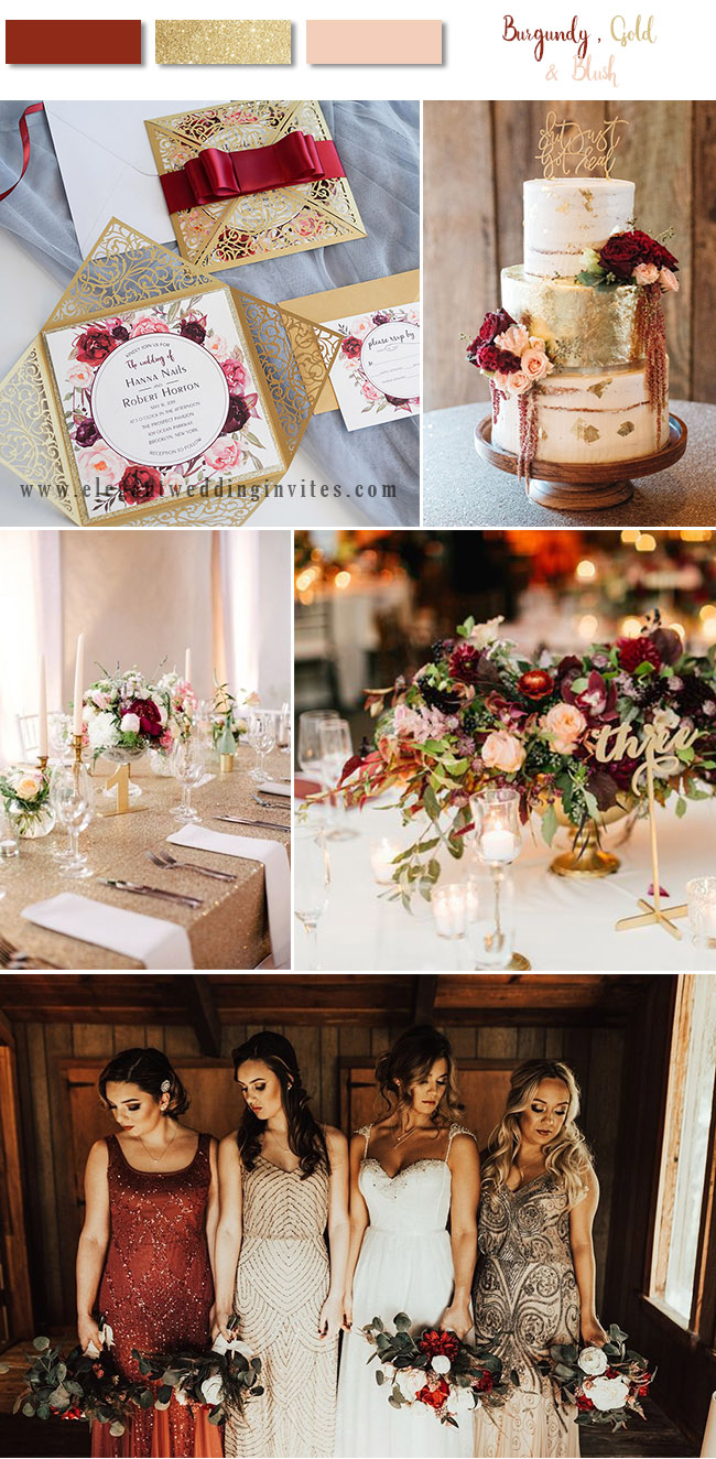 Burgundy, blush and champagne gold vintage inspired wedding colors