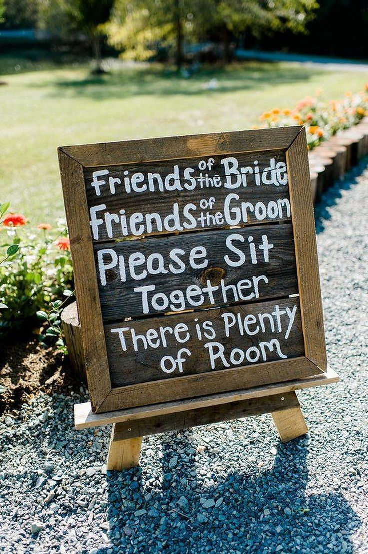 Creative wedding signs for receptions with no seating arrangement