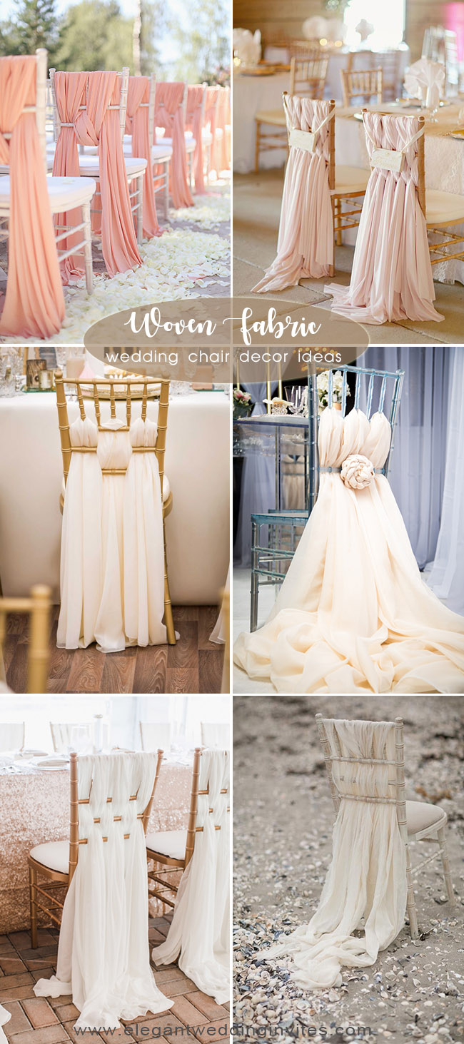 Graceful long woven fabric chair decoration for classic glamorous weddings