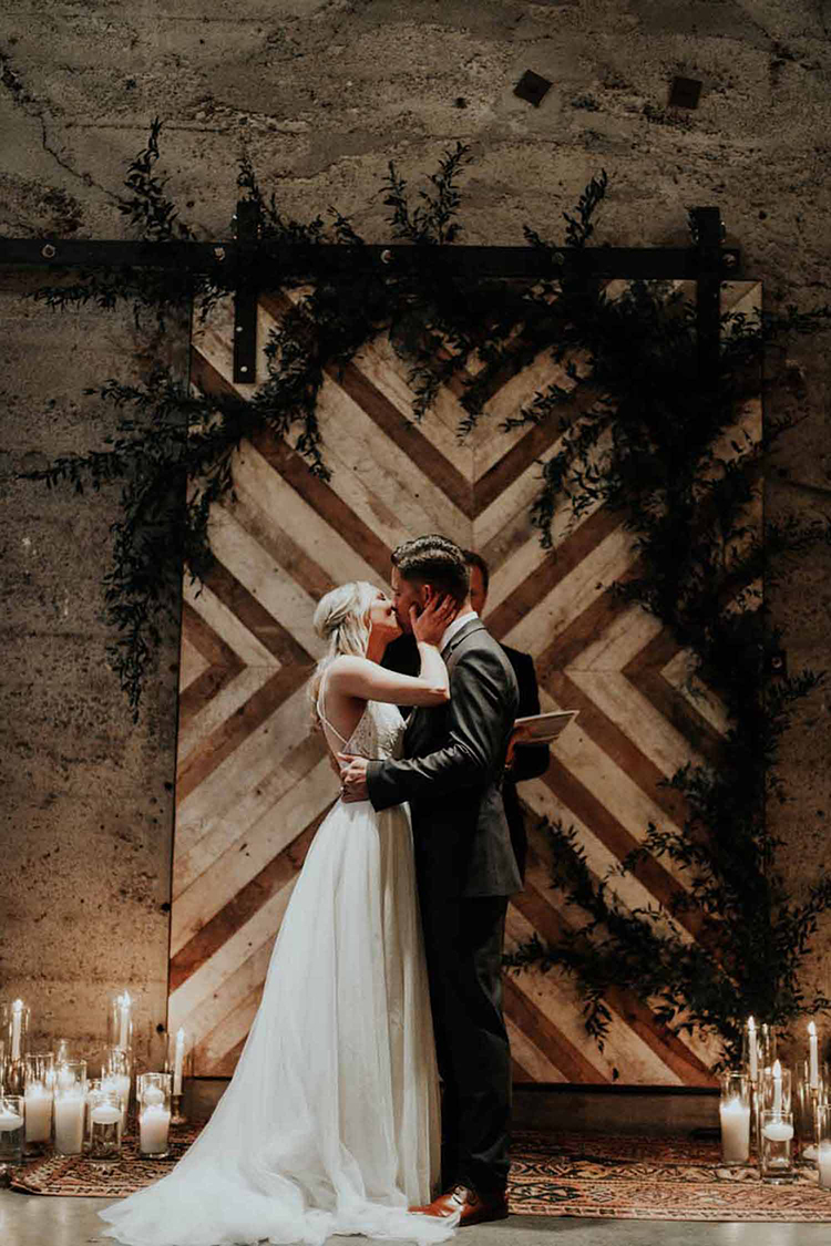 Industrial Chic Wedding with a Geometric Ceremony Backdrop