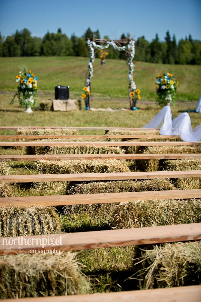 Rustic Hay Bale Benches for country wedding ceremony decoration