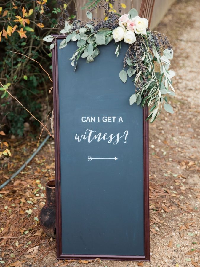 Simple rustic chalkboard can-I-get-a- witness wedding sign ideas