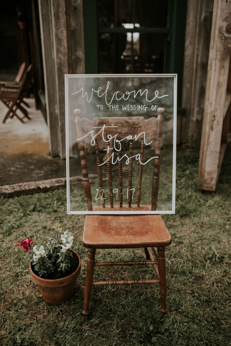 Stylish Hand lettered welcome board wedding signs
