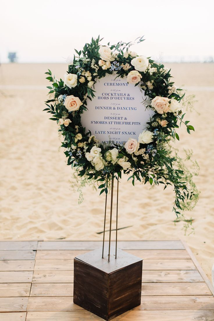 beautiful floral wreath wedding sign ideas