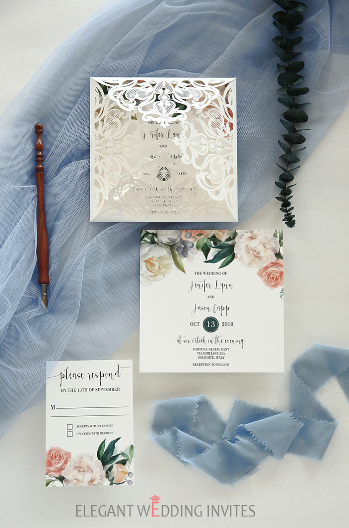 blush,dusty blue and greenery elegant wedding invitations