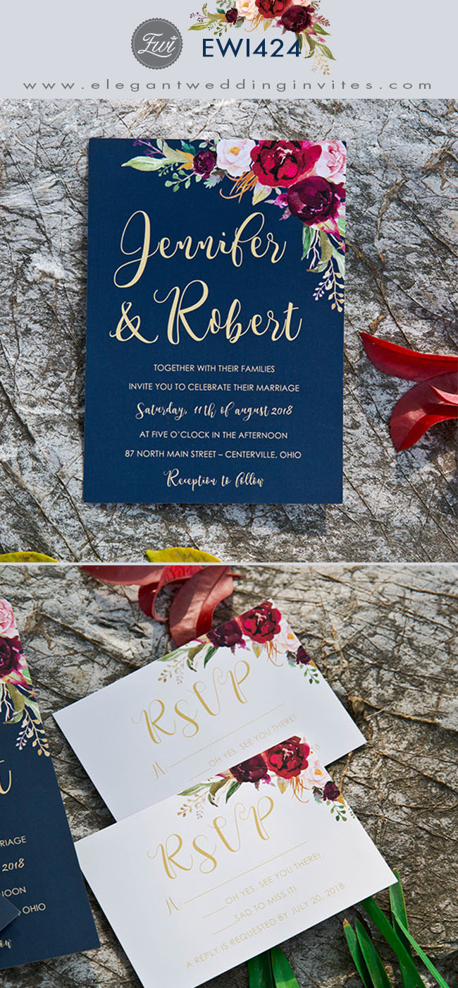 boho navy blue and burgundy floral watercolor rustic wedding invitations