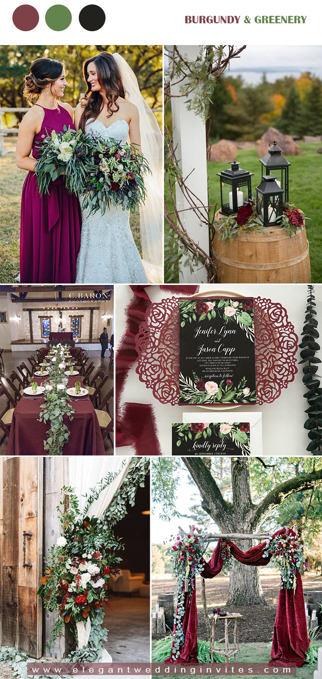 burgundy,greenery and black fall wedding combos