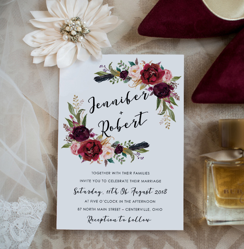 burgundy and blush boho rustic wedding invitation card