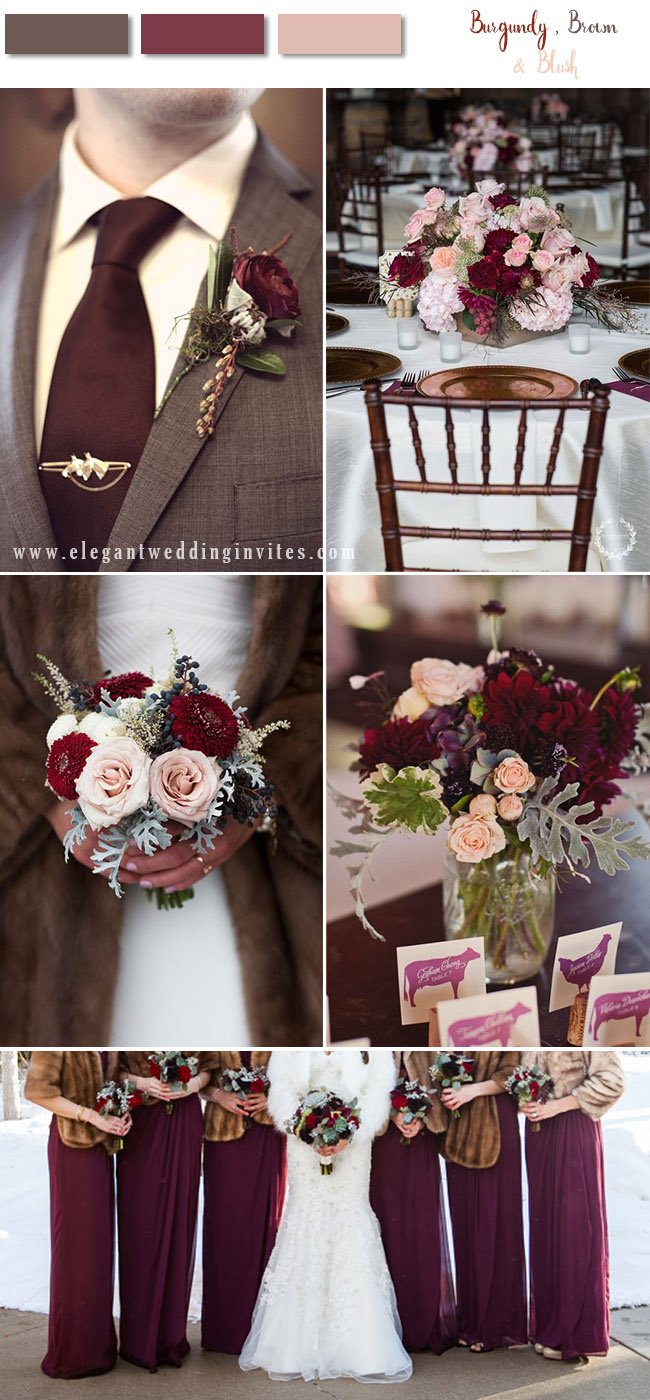 burgundy and brown fall and winter wedding colors with blush flowers